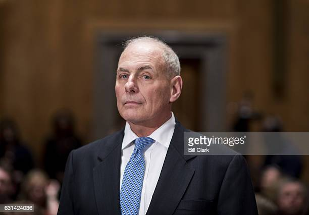 Gen John F Kelly USMC prepares to testify during the Senate Homeland Security Committee hearing on his confirmation to be Secretary of Homeland...