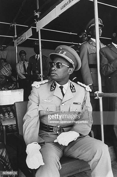 Gen Joseph D Mobutu attending opening ceremonies of new military training camp