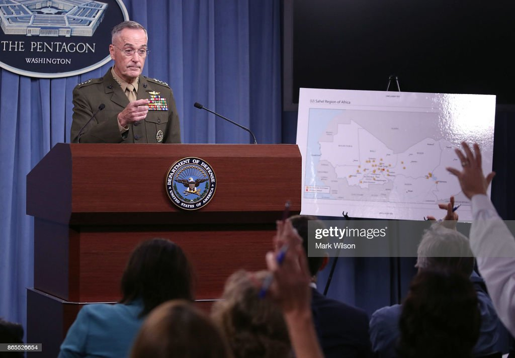Chairman Of The Joint Chiefs Of Staff Gen. Dunford Holds Briefing At Pentagon : News Photo