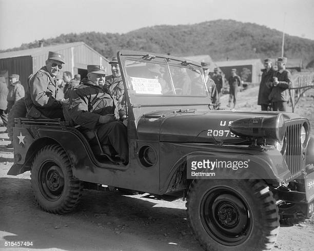 Gen Lemnitzer and Sec Brucker Driving in a Jeep