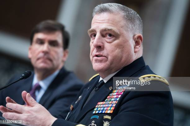 Gen Mark A Milley Army chief of staff and Secretary of the Army Mark T Esper left testify during a Senate Armed Services Committee hearing in Dirksen...