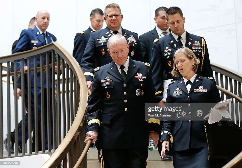 Members Of Senate Briefing By Military Leaders And Obama Administration Officials On ISIL Threats : News Photo