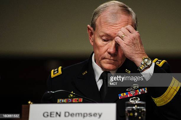 Gen Martin Dempsey chairman of the Joint Chiefs of Staff testifies before the Senate Armed Services Committee hearing in Washington DC on Thursday...
