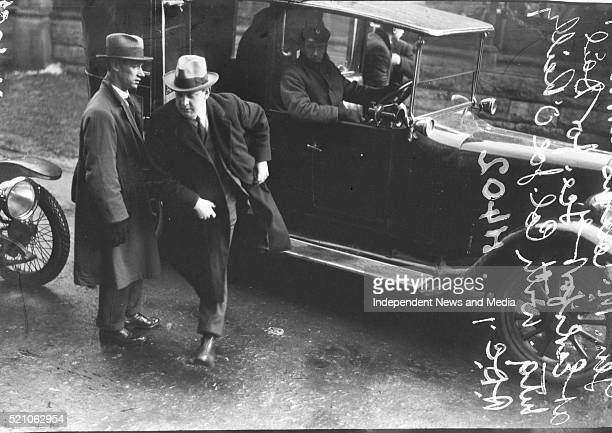 Gen Michael Collins with Col Joe O'Reilly arriving at Earlsforth for First sitting of Dail Eireinn Circa 1919