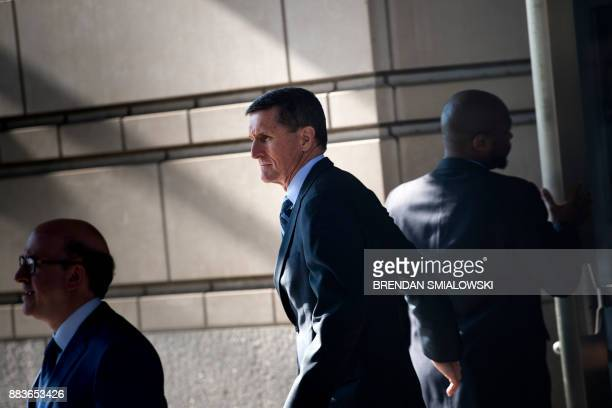 Gen Michael Flynn former national security adviser to US President Donald Trump leaves Federal Court on December 1 2017 in Washington DC Donald...