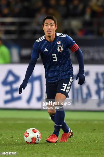 Gen Shoji of Japan in action during the EAFF E1 Men's Football Championship between Japan and China at Ajinomoto Stadium on December 12 2017 in Chofu...