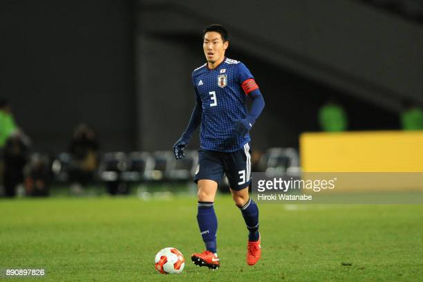 Gen Shoji of Japan in action during the EAFF E1 Men's Football Championship between Japan and China at Ajinomoto Stadium on December 12 2017 in Chofu...