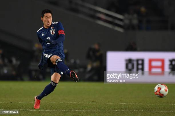 Gen Shoji of Japan in action during the EAFF E1 Men's Football Championship between Japan and South Korea at Ajinomoto Stadium on December 16 2017 in...