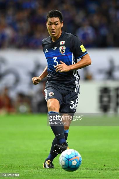Gen Shoji of Japan in action during the FIFA World Cup Qualifier match between Japan and Australia at Saitama Stadium on August 31 2017 in Saitama...
