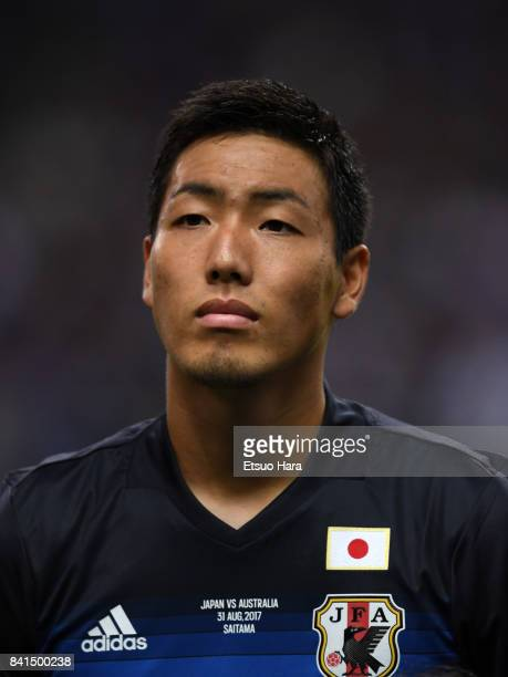 Gen Shoji of Japan looks on prior to the FIFA World Cup Qualifier match between Japan and Australia at Saitama Stadium on August 31 2017 in Saitama...