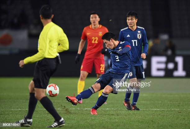 Gen Shoji of Japan scores his side's second goal during the EAFF E1 Men's Football Championship between Japan and China at Ajinomoto Stadium on...