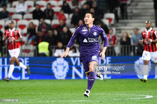 Gen Shoji of Toulouse during the Ligue 1 match between Nice and Toulouse at Allianz Riviera Stadium on March 15 2019 in Nice France