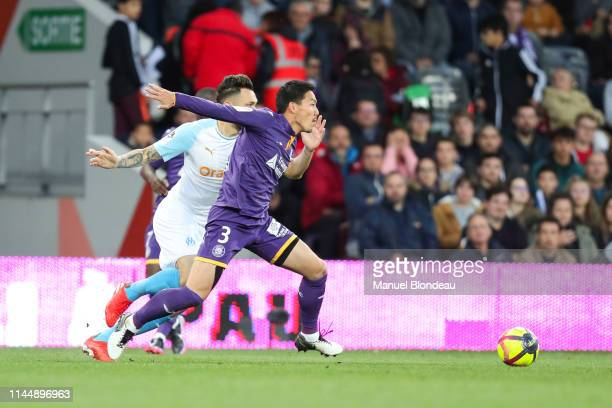 Gen Shoji of Toulouse during the Ligue 1 match between Toulouse and Marseille at Stadium Municipal on May 18 2019 in Toulouse France