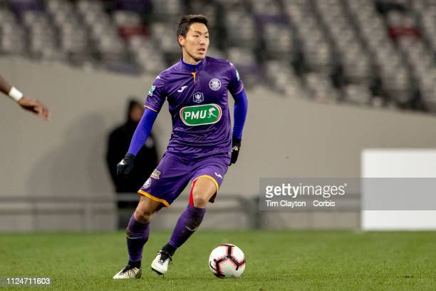 Gen Shoji of Toulouse in action during the Toulouse FC V Stade de Reims Coupe de France match at the Stadium Municipal de Toulouse on January 22nd...