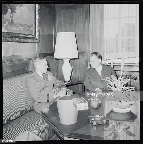 Gen Taylor Talks with West Berlin Mayor West Berlin Germany Gen Maxwell Taylor US army Chief of Staff talks here with West Berlin Mayor Willy Brandt...