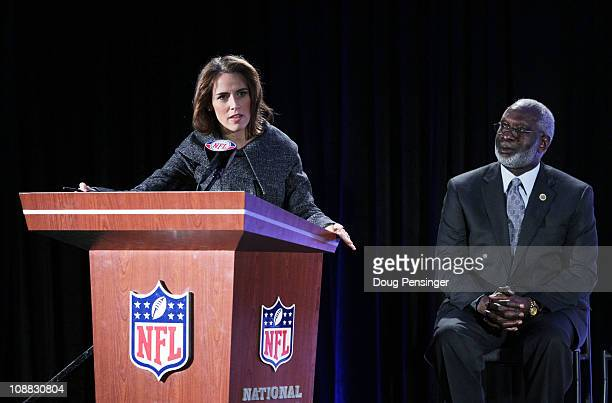 Gen YOUth Foundation CEO Alexis Glick speaks as US Surgeon General Dr David Satcher looks on during the launch of the Gen YOUth Foundation a new...
