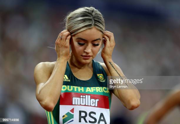Gena Loftstrand of South Africa prepares to compete in the Women's 800m during day two of the Athletics World Cup London at the London Stadium on...