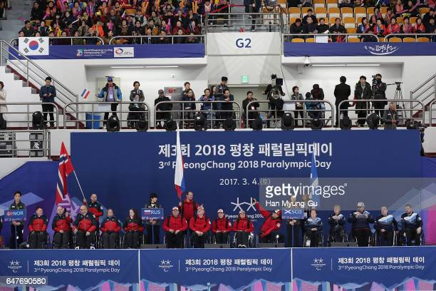 A genaral view of the PyeongChang 2018 Paralympic Day and Opening of the World Wheelchair Curling Championship 2017 at Gangneung Curling Centre on...
