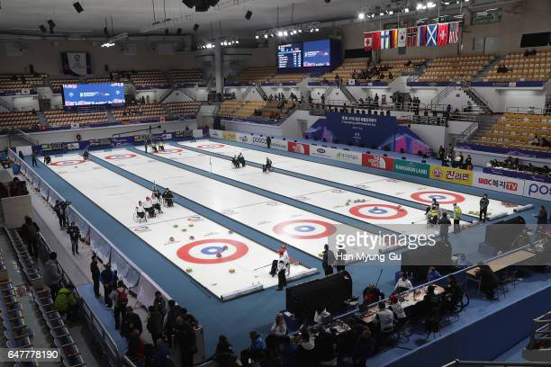 A genaral view of the World Wheelchair Curling Championship 2017 test event for PyeongChang 2018 Winter Olympic Games at Gangneung Curling Centre on...