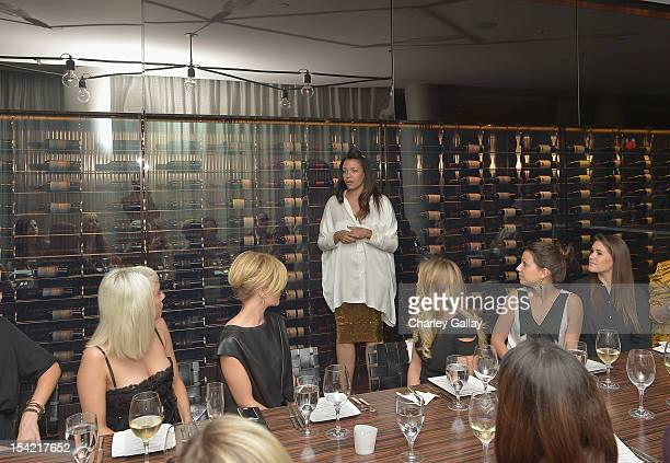 GenArt Fashion Curator Aurora James speaks at GenArt's 14th Annual Fresh Faces In Fashion Intimate Dinner at Andaz on October 15 2012 in West...