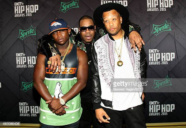 OT Genasis Busta Rhymes and JDoe attend the BET Hip Hop Awards 2015 presented by Sprite at Atlanta Civic Center on October 9 2015 in Atlanta Georgia