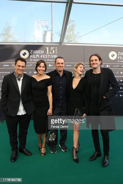 "Genc Jakupi, Arta Dobroshi, Shkumbin Jakupi, guest and Daniel Kruglikov attend the ""Drita"" photo call during the 15th Zurich Film Festival at Kino..."