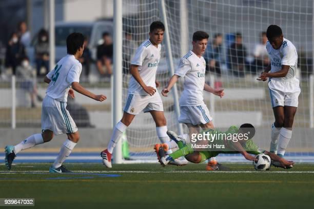Gendai Ishikawa of Shonan Bellmare U15 falls to the pitch during the U15 Kirin Lemon Cup Final match between Real Madrid Cadete B and Shonan Bellmare...