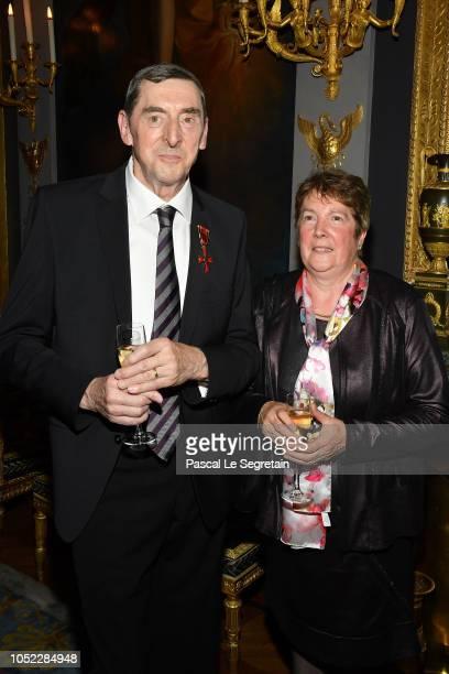 Gendarme Daniel Nivel and wife Lorette Nivel pose after Gendarme Nivel received the German Federal Cross Of Merit on October 16 2018 in Paris France