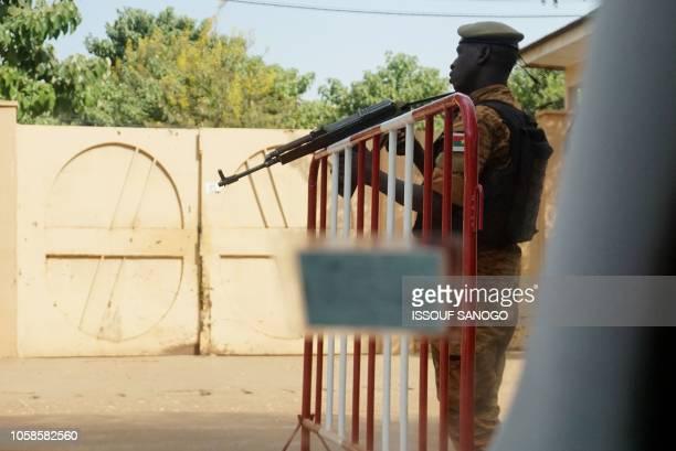 A gendarme patrols at a school in Ouagadougou on November 7 2018