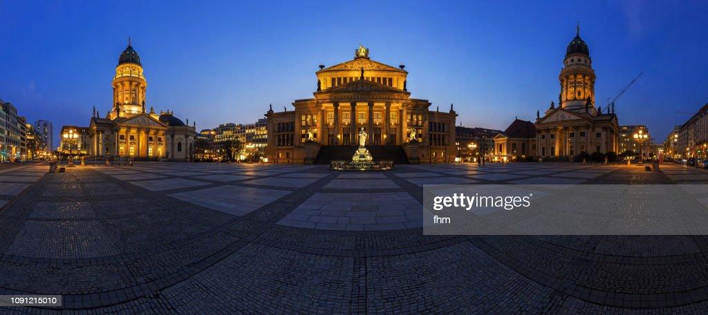 Gendarmenmarkt Berlin panorama at blue hour (Berlin, Germany) : Stock Photo