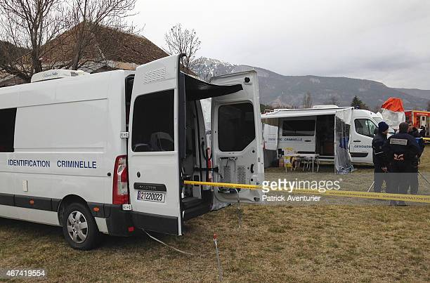 Gendarmerie and French mountain rescue teams arrive near the site of the Germanwings plane crash in the French Alps on March 24 2015 in La Seyne les...