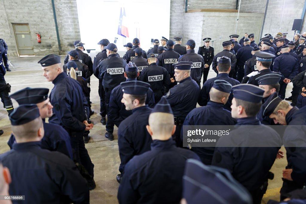 French President Emmanuel Macron Visits Calais