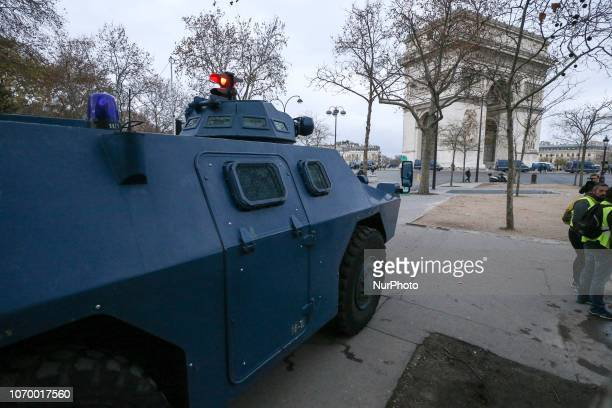 A Gendarmerie armored vehicle near the Arc the Triomphe in Paris on December 8 2018 during a protest of quotyellow vestsquot against rising costs of...