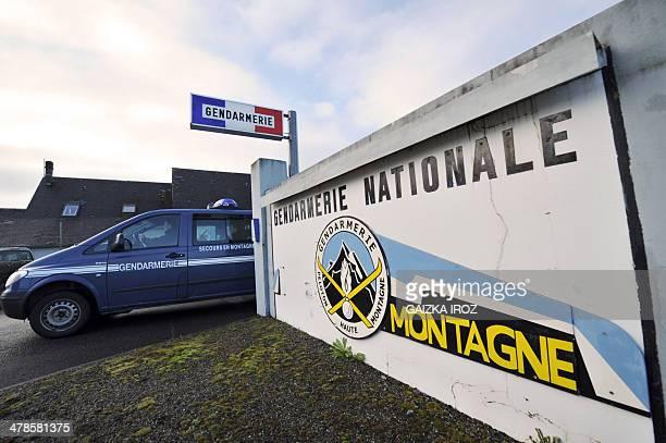 A gendarmerie car leaves the Mountain Gendarmerie headquarters where the 'Peloton de Gendarmerie HauteMontagne' unit which serves as a rescue...