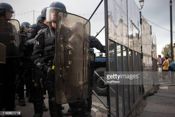 Gendarmerie officer seen during clashes in Bayonne on August 25, 2019 on the second day of the annual G7 Summit attended by the leaders of the...