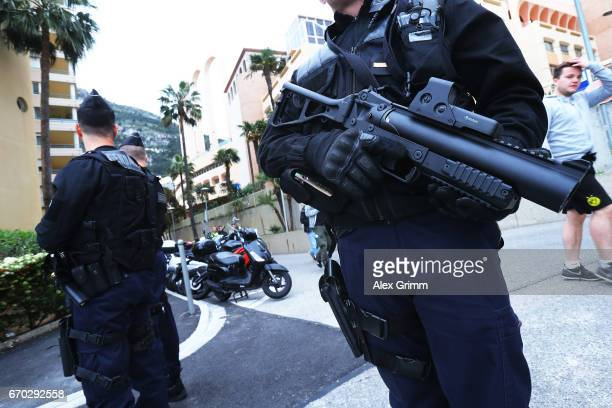 Gendarmerie stand guard outside Stade Louis II before the UEFA Champions League Quarter Final second leg match between AS Monaco and Borussia...