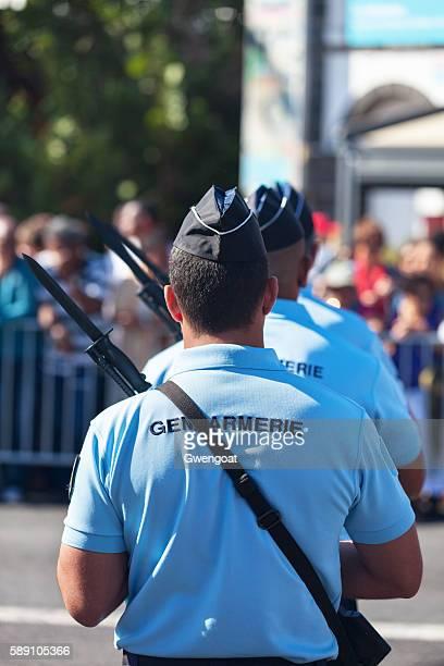 Gendarmes parading during Bastille Day