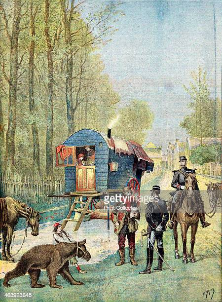 Gendarmes taking census forms to an encampment of itinerant gipsies in their caravan 1895 A boy in the foreground leads a muzzled 'dancing' bear From...