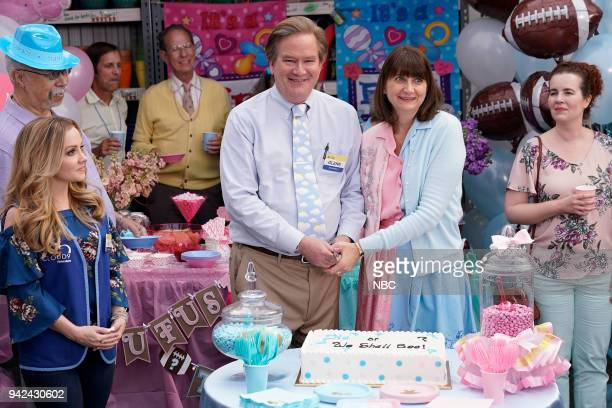 SUPERSTORE Gender Reveal Episode 320 Pictured Kelly Stables as Kelly Mark McKinney as Glenn Kerri Kenney as Jerusha