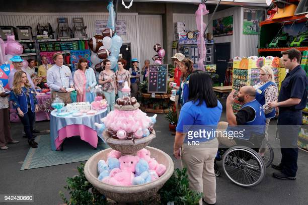 SUPERSTORE Gender Reveal Episode 320 Pictured Kelly Stables as Kelly Mark McKinney as Glenn Kerri Kenney as Jerusha Colton Dunn as Garrett