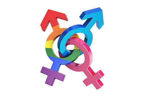 gender symbols, 3D rendering isolated on white background 695604334
