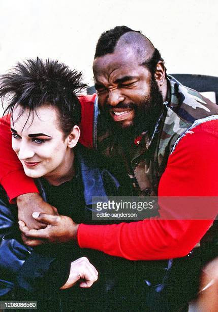 Gender-bending New Wave rocker Boy George guest starred on NBC's high-octane testosterone fest The A-Team with star Mr T on February 11,1986 in Los...