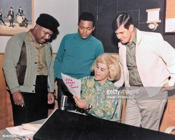 R and B singer Etta James rehearses as owner of Fame Studios Rick Hall and members of the house band look on during a recording session at Fame...