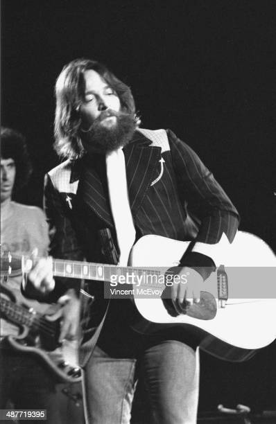 Gene Clark of The Byrds performs on stage at Hammersmith Odeon London 1975