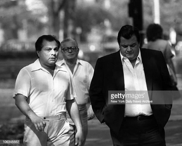 Gene Gotti on trial with brother John walks with Joseph Massino to Brooklyn Federal Courthouse