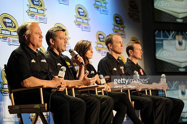 Gene Haas coowner of StewartHaas Racing Tony Stewart coowner of StewartHaas Racing and driver of the Bass Pro Shops Chevrolet Danica Patrick driver...
