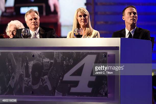 Gene Haas, DeLana Harvick and Kevin Harvick attend the 2014 NASCAR Sprint Cup Series Awards at Wynn Las Vegas on December 5, 2014 in Las Vegas,...