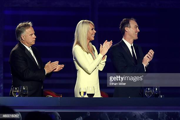 Gene Haas, DeLana Harvick and Kevin Harvick look on during the 2014 NASCAR Sprint Cup Series Awards at Wynn Las Vegas on December 5, 2014 in Las...