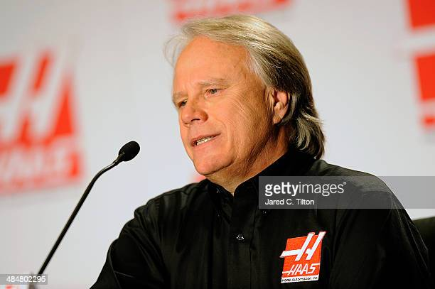 Gene Haas, founder, Haas Automation and chairman, Haas Formula, speaks during the Gene Haas Formula One Press Conference at the Concord Convention...