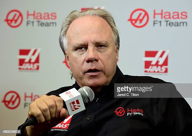 Gene Haas, owner of Haas F1 Team, speaks after a press conference as Haas F1 Team announced Romain Grosjean of France as their driver for the...